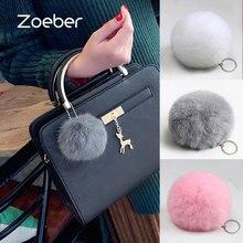 Zoeber New Artificial Rabbit Fur Ball Keychain Cute Pompom Key Ring Lovely Fluffy Fur Rabbit Ear