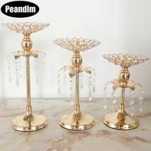 Арахисовый Золотой хрустальный подсвечник, свадебное украшение, стол, центральные канделябры, для дня рождения, для вечеринки, держатель для цветочной вазы, домашний декор