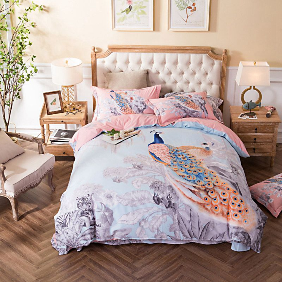 Peacock bedroom set - Bedding Set For Children And Adults Beautiful Peacock Pattern 100 Cotton Duvet Cover Sets For