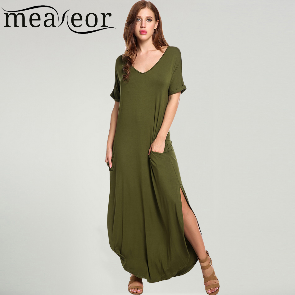 Meaneor Women Casual Long Maxi Dress Short Sleeve Solid Elastic Split Rolled-cuff Pockets 2017 Summer Sexy Full Length Vestidos