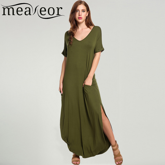 063b9c29ce8 Meaneor Women Casual Long Maxi Dress Short Sleeve Solid Elastic Split  Rolled-cuff Pockets 2017 Summer Sexy Full Length Vestidos