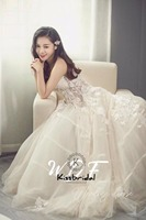 New Beautiufl Tulle Sweetheart Wedding Dresses vestido de casamento Lace Up Back Appliques Bride Wedding Gown
