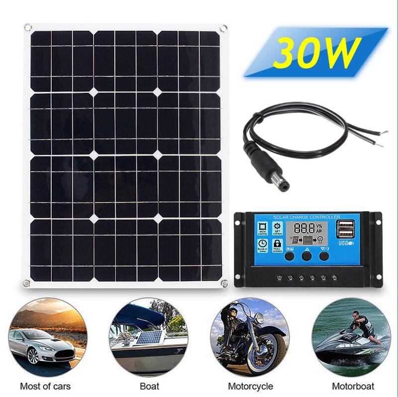 3in1 30W 12 V/USB 5V DC Kit de Panel Solar sistema de energía Solar de 20A PWM multifunción controlador 30cm Cable de CC Cable envío gratis Wallpad L6, toma de corriente blanca cuádruple de 4 vías, enchufe alemán de la UE, toma de corriente Schuko, toma de pared con Panel de vidrio templado de 344x86mm, 4 puertos, 4 entradas