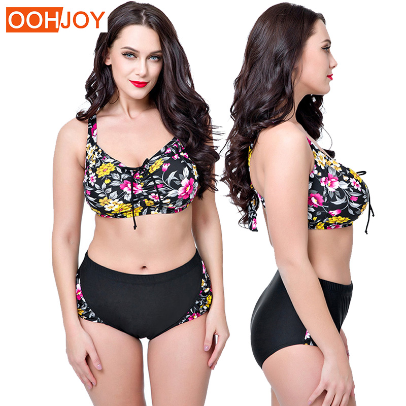 2018 New Plus Size Bikini Women Swimsuit Floral Print Bathing Suit High Waist Push Up Swimwear 4XL-8XL Summer Beachwear Bikini simple women s plus size stripe bikini set