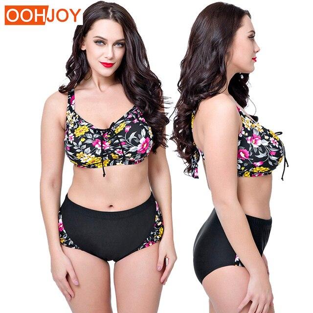 9877cbb4be 2018 New Plus Size Bikini Women Swimsuit Floral Print Bathing Suit High  Waist Push Up Swimwear 4XL-8XL Summer Beachwear Bikini