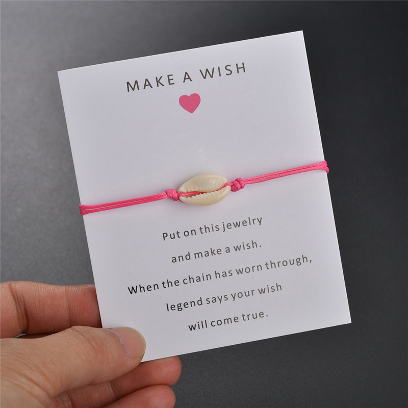 Lucky Shell Charm Bracelet Adjustable Red String Wish Bracelets For Women Men Couple Kids Gifts Simple Card Jewelry Accessories