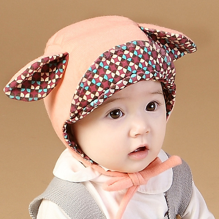 купить 2017 Children's Warm Earflap Cap New Arrival Baby 6-24 Months Boy Girl Rabbit Ears Hat Cute Autumn Winter Cotton Beanie недорого