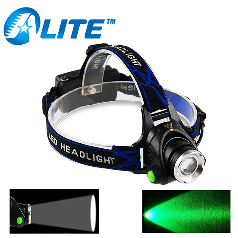[FREE SHIP] High Power Green Light Rechargeable Head Torch 10W LED White or Green Beam H ...