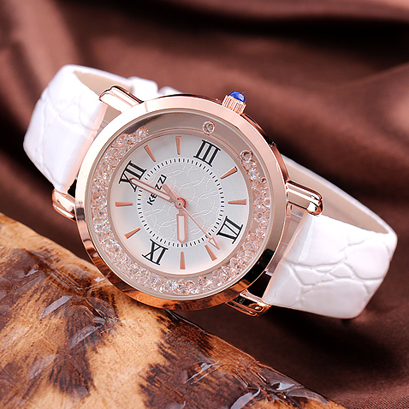 KEZZI Brand Leather Strap Watches Women Dress Watch Relogio Ladies Wristwatches/Clocks Designer Ladies Gift  Quartz Watch/Reloj. free shipping kezzi women s ladies watch k840 quartz analog ceramic dress wristwatches gifts bracelet casual waterproof relogio