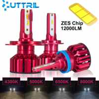 Uttril 2 Pcs Mini Size LED H4 H7 H11 H1 Auto Headlamp H8 H8 H3 9005 HB3 9006 HB4 4300K 5000K 6500K 8000K LED Bulb 12V 12000LM