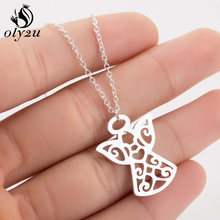 Oly2u Long Chain Necklaces Pendants Chokers For Women Angel Necklace Stainless Steel Pendant collares femme clothing Jewelry(China)