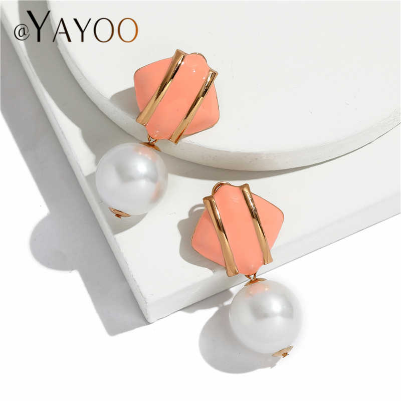 Big Simulated Pearl Earrings For Women Gold Color Fringe Statement Earrings Za 2018 Brincos Long Earings Fashion Jewelry