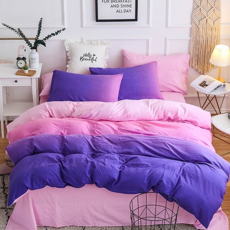 Solstice Home Textile Girls Teen Bedding Set Purple Pink Solid Simple Female Adult Linen Duvet Cover Pillowcase Bed Sheet Double