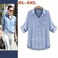 Плюс Размер XL-5XL Женщины Джинсовый Блузка Свободные Джинсы Рубашка Кардиганы Карманный Длинным Рукавом Регулируемый Длинные Рубашки Вскользь Топы T6518