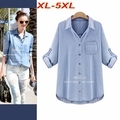 Plus Size XL-5XL Women Denim Blouse Loose Jeans Shirt Cardigans Pocket Long Sleeve Adjustable Long Shirt Casual Tops T6518