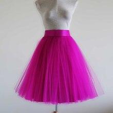73cddda8e2 Moda fucsia corto tul suizo Faldas mujeres zipper estilo rodilla longitud  45-55 cm capa tulle 1 forro baratos tulle falda