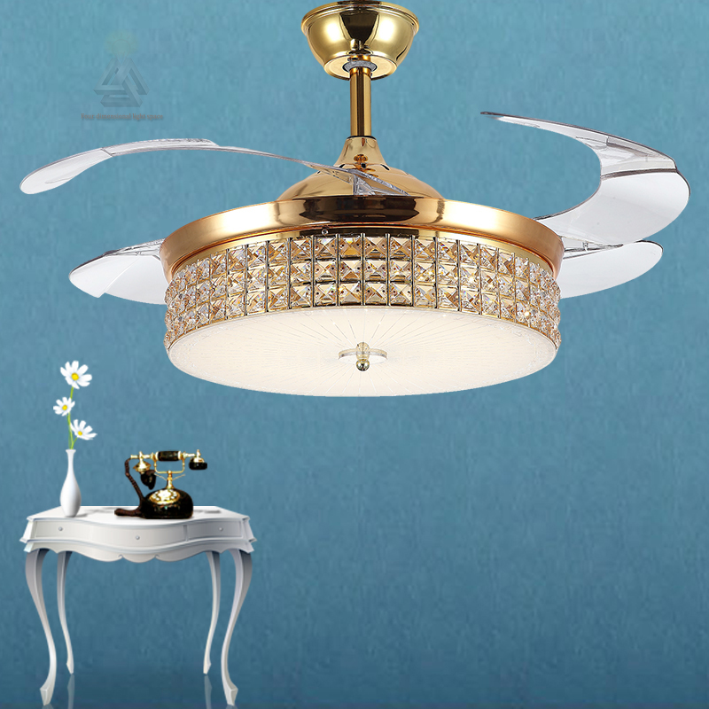 Modern Ceiling Fan Crystal Retractable Blades Remote Control With Lights Invisible LED Folding Dining Room Lamp