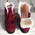 Mulheres Botas de Inverno quente 2016 Moda Inverno Quente Botas de Neve do Tornozelo botas Para As Mulheres Sapatos Martin Preto Vermelho Plus Size 41 42 43