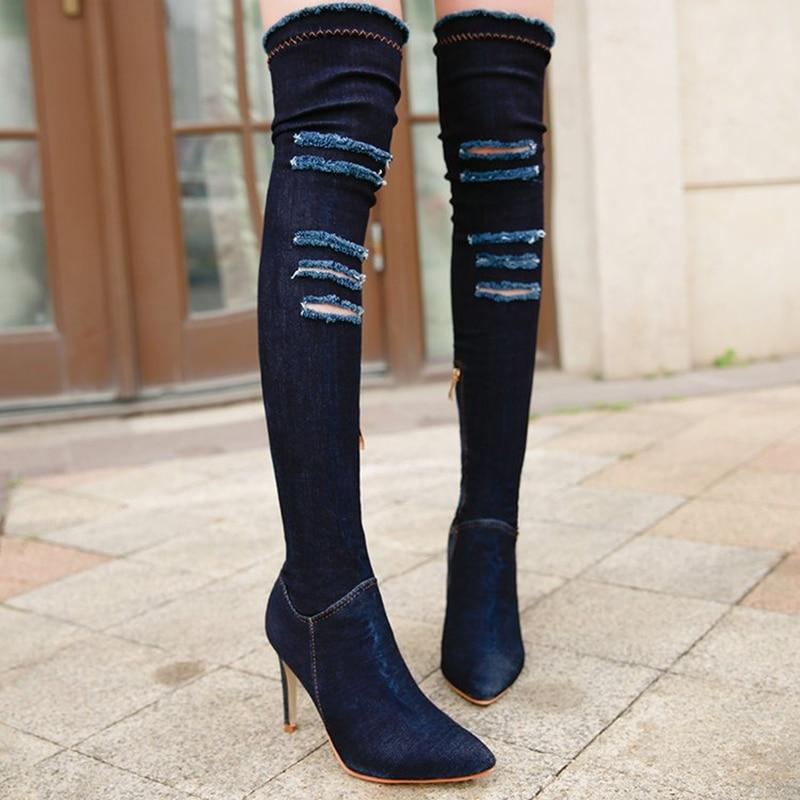 Ayakk.'ten Diz Üstü Çizmeler'de Ho Ağır Kadın Kneeboots Yeni Stil Moda Yırtık Kot Rahat Styetch Kumaş Kadın Ayakkabı Kadın Rahat Nefes Botları'da  Grup 2