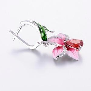 Image 4 - SANTUZZA Silver Earrings For Women 925 Sterling Silver Dangle Earrings Long Silver 925 Cubic Zirconia brincos Jewelry Enamel