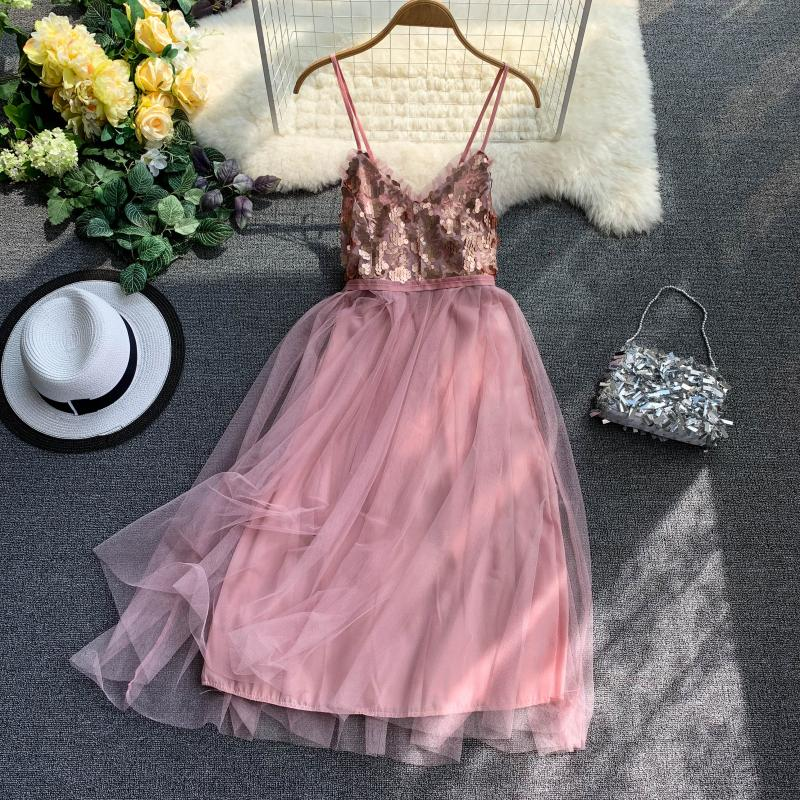 2019 summer new women's V neck Sequins Stitching Mesh Backless Sleeveless sling A line Dresses female strap elegant dresses