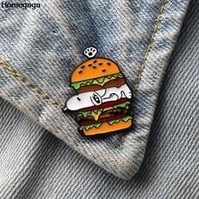 Homegaga cartoon Hamburger dog Zinc tie pins badges para shirt bag clothes cap backpack shoes brooches medal D1913