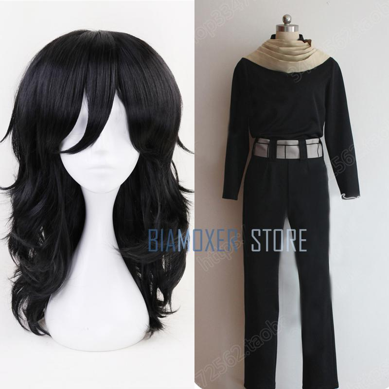 Biamoxer 45cm My Hero Academia Baku no Hero Shouta Aizawa Cosplay Wigs Black Wavy Cos Ha ...