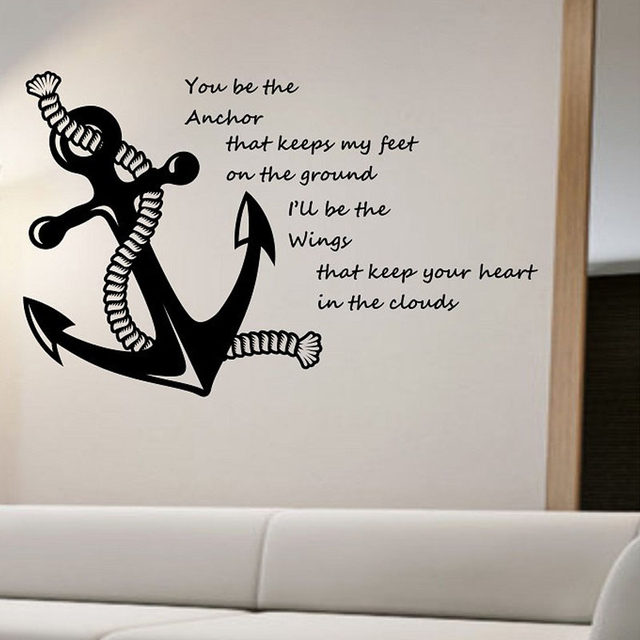 Nautical Quotes Wall Stickers Anchor Home Decorative Vinyl Wall Decals Adhesive  Wall Art Stickers Living Room Bedroom Decoration