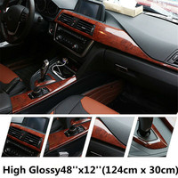 124*100CM PVC Wood Grain Textured Car Interior Decoration Stickers Waterproof Furniture Door Automobiles Vinyl Film Car Styling