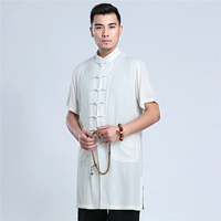 Shanghai Story Chinese Vintage Men Solid Shirt Antiqur Improved Male Tang Suit Top Casual Cotton Linen Single Breasted Clothing