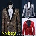 Masculina chaqueta de lentejuelas capa de la chaqueta de traje de baile de la boda del novio de oro verano patrón decorativo personalidad cantante bailarín barra de estrellas