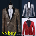 male sequin jacket blazer coat costume wedding prom groom gold  summer decorative pattern personality singer dancer stars bar