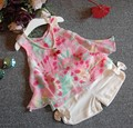 2-7Y new 2017 summer girls flower chiffon sleeveless ves+short pant clothing set 2pcs girls summer vest clothes sets