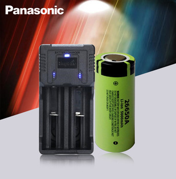 1pc 100% Original Panasonic 26650A 3.7V 5000mAh High Capacity 26650 Li-ion Rechargeable Batteries AND Fast Charger Best Quality image