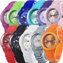 Classic Stylish Silicon Jelly Strap Unisex Women Lady Girls Wrist Watch Colorful  8JUV