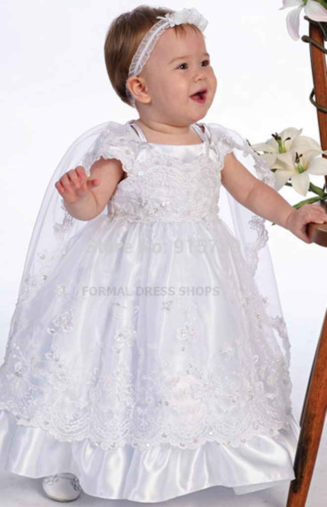 New Baby Girls White Christening Baptism Dedication Dress Gown