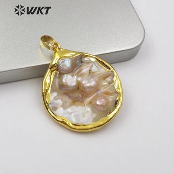 WT-JP143 colgante con forma de perla redonda, colgante de madre de perla Natural con colgante con ribete de oro, colgante de joyería de perlas, joyería para dama de honor