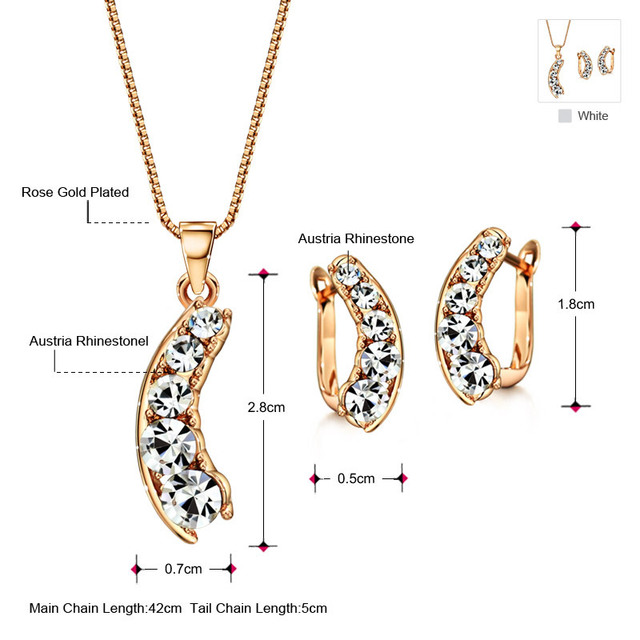 Exquisite Rhinestone Round Shining Style Rose Gold Color Jewelry Set