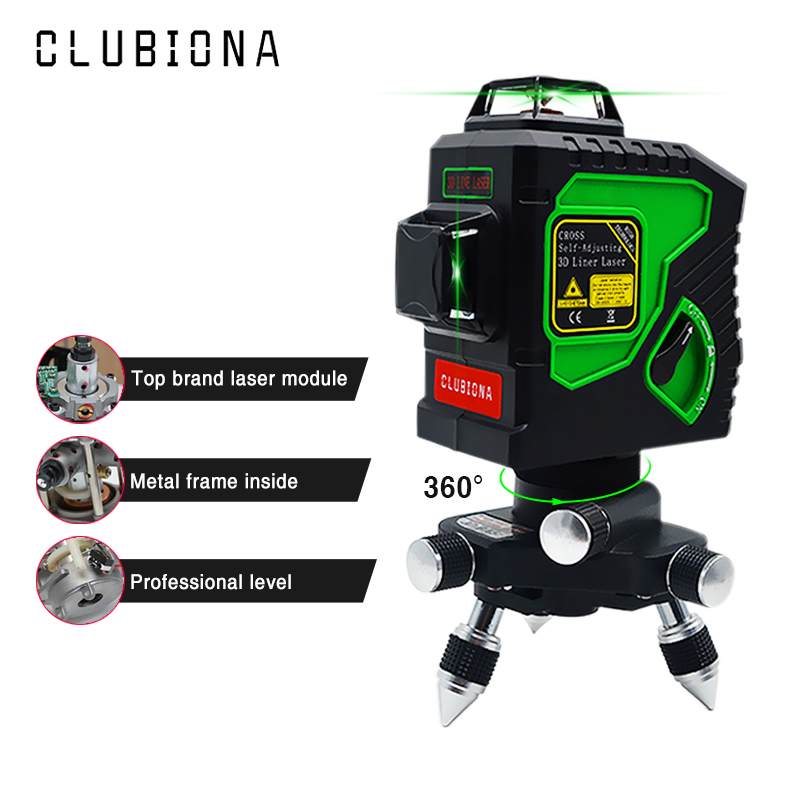 Clubiona 3D 12GH 12 Lines Laser Level with Self Leveling Super Powerful GREEN Laser Beam Lines