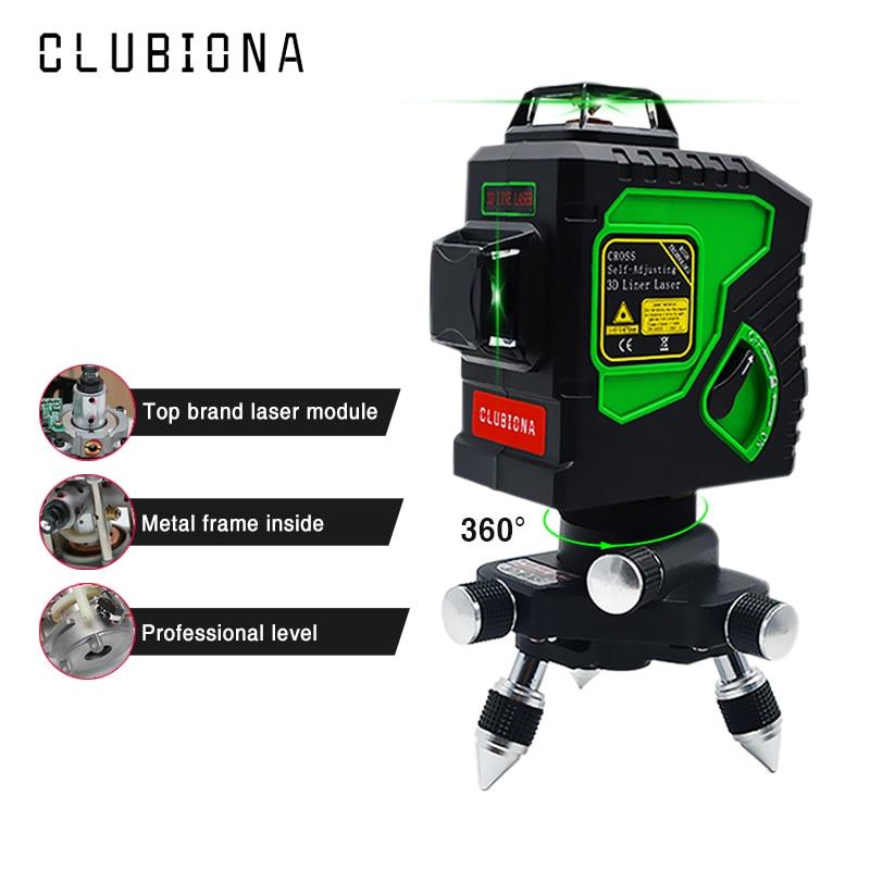 Clubiona 3D 12GH 12 Linhas de Nível Laser com Auto-Nivelamento Super Poderosa GREEN Laser Beam Linhas e MSDS certificada bateria