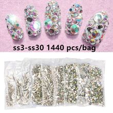 1440 pièces paillettes Strass cristal AB SS3-SS30 Non Hotfix Flatback ongles Strass gemme Nail Art décoration(China)