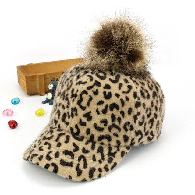 66c00c3515e Hot Women Cap With Leopard Print Pompom Baseball Cap Flat Warm Ladies  Casual Fur Ball Caps Velet Autumn Hats For Women