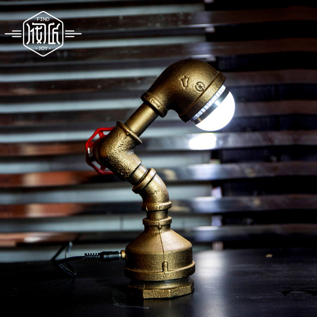 Loft LED Light Iron Pipe Lamp Bronze Water Pipe Desk Lamps,Table Lamps  Decorate Study