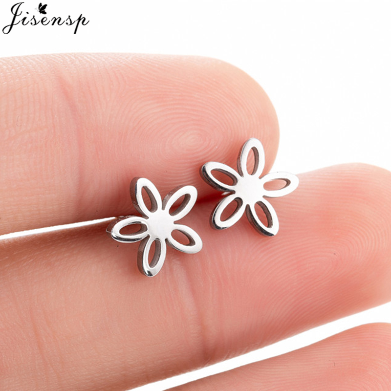 Romantic Small Flower Stainless Steel Stud Earrings for Girls Gold Earrings Fashion Jewelry Blossom Boucle D'oreille