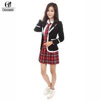 ROLECOS Neue Ankunft Japanischen Schulmädchen Uniform Frauen Schwarze Jacke mit Hemd Krawatte Plaid Rock Student Anzug
