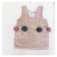 Girls Dresses Solid Colour Sleeveless Baby Girls Dress Solid Pink Gray Fashion Kids Clothes Spring Autumn