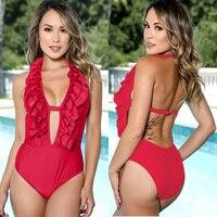 2018 New Arrival One Piece Swimsuits Solid Falbala Monokini Swimsuit Women Swimwear Female Summer Beach Wear