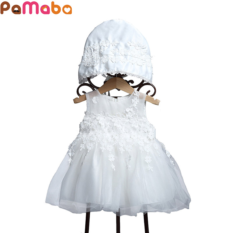 PaMaBa Newborn Baby Girls Christening Dress with Cap Elegant Infant Flower Girls Lace Princess Dress Toddler Party Dress Gown