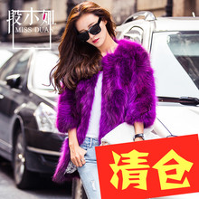 2016 New winter slim long natural blue raccoon dog fur coat outerwear women jacket female O neck 3/4 sleeve real fur clothes