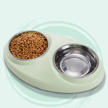 1PC Dog Double Feeder Drinking Bowls Non-slip Steel Pet Food Bowl Stainless Cat Supplies